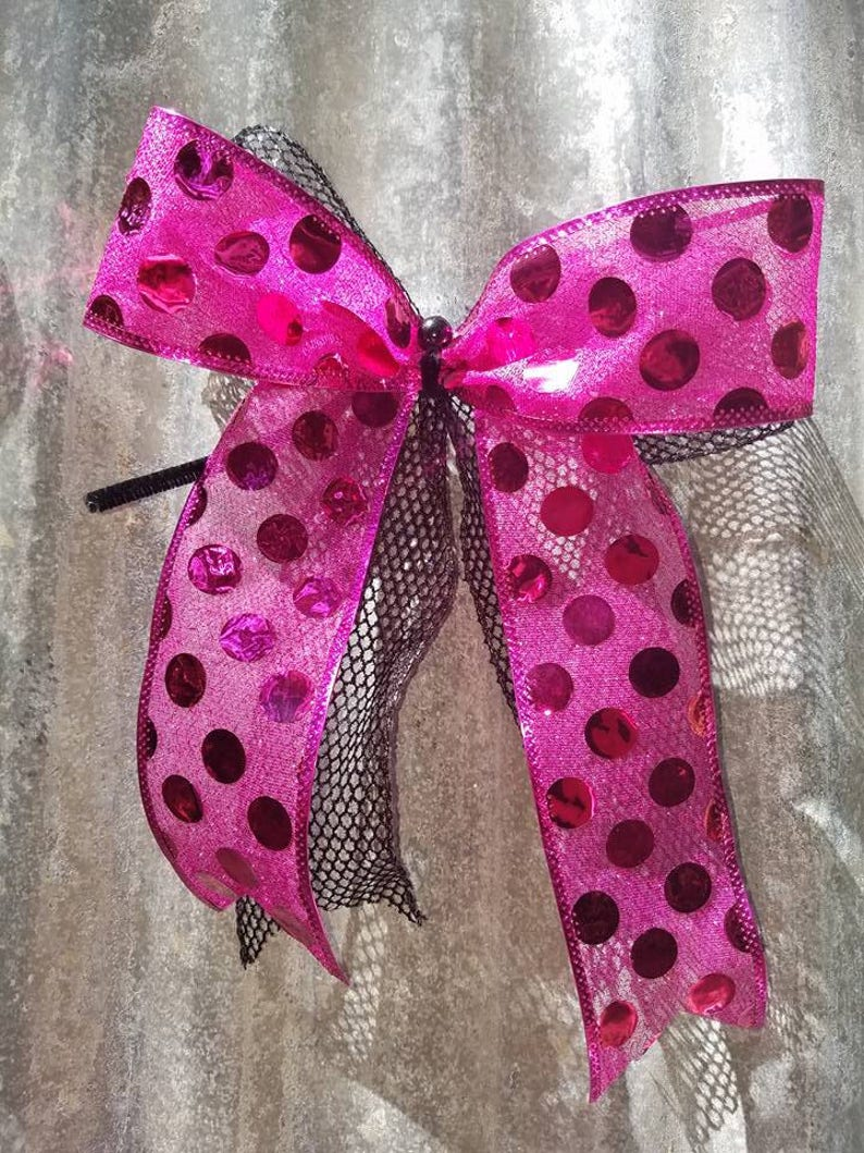 Premade Valentine Gift Bow Hot Pink Polka Dot Bow Pink Bow Etsy
