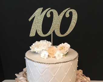 ANY NUMBER Gold Glitter 100th Birthday Cake Topper, number birthday cake topper, 100 Cake Topper
