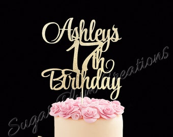 Marvelous 17Th Birthday Cake Etsy Personalised Birthday Cards Veneteletsinfo
