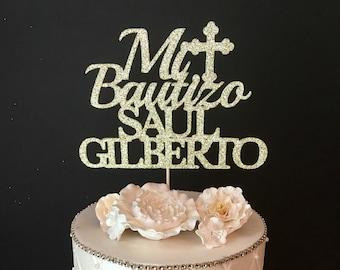 Personalized Mi Bautizo Cake Topper, Baptism Cake Topper, Christening Cake Topper, Any name