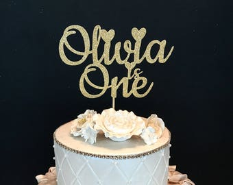 Gold Glitter Personalized One Cake Topper, Gold glitter cake topper, First birthday cake topper, Any Number and Name