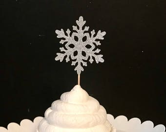 Set of 12 Snowflake cupcake toppers, Snowflake Birthday, Onederland cupcake toppers