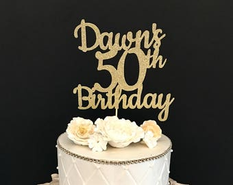 ANY NAME NUMBER Gold Glitter 50th Birthday Cake Topper 50 And Fabulous Customized