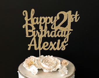 Any Number! Glitter Personalized Happy Birthday Cake Topper, glitter birthday cake topper, 21st birthday cake topper, Any Number