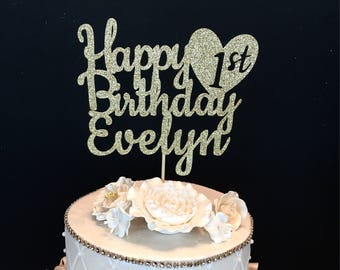 Any Number! Gold Glitter Personalized Happy Birthday Cake Topper, Gold glitter cake topper, First birthday cake topper, Any Number and Name