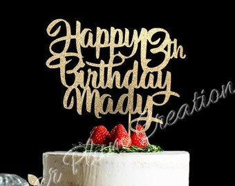 Glitter Personalized Happy Birthday Cake Topper 13th