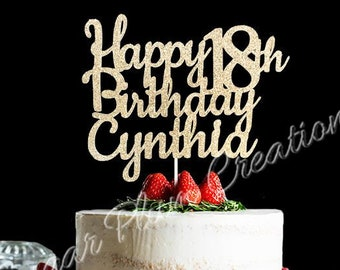 Any Number! Happy Birthday Cake Topper, glitter birthday cake topper, 18th Birthday cake topper