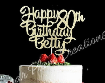 Any Number! Glitter Personalized Happy Birthday Cake Topper, birthday cake topper, 80th birthday cake topper