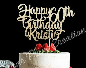 Glitter Personalized Happy Birthday Cake Topper 60th
