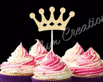 Set Of 12 Princess Birthday Cupcake Topper Gold Cup Cake First Any Name Prince