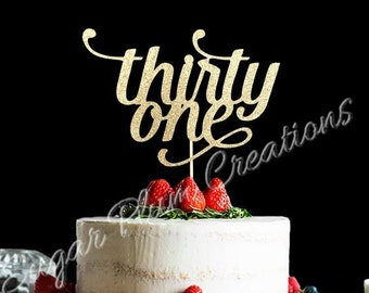 ANY NUMBER Gold Glitter Thirty One Cake Topper 31st Birthday 31