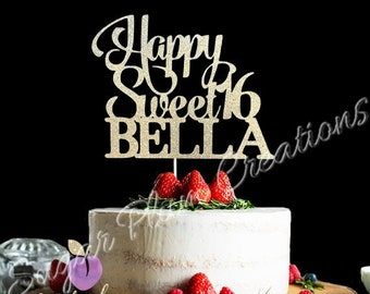 Any Name, Glitter Happy Sweet 16 Birthday Cake Topper, Sweet Sixteen Cake Topper, Glitter 16th Birthday Cake Topper, Sweet 16 Cake Topper