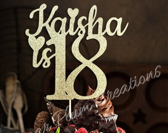 ANY NAME NUMBER Glitter 18th Birthday Cake Topper Eighteenth