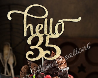 ANY NUMBER Gold Glitter Hello 35 Cake Topper 35th Birthday