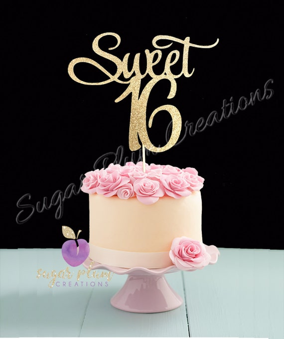 Pleasant Sweet 16 Birthday Cake Topper Sweet Sixteen Cake Topper Etsy Personalised Birthday Cards Sponlily Jamesorg