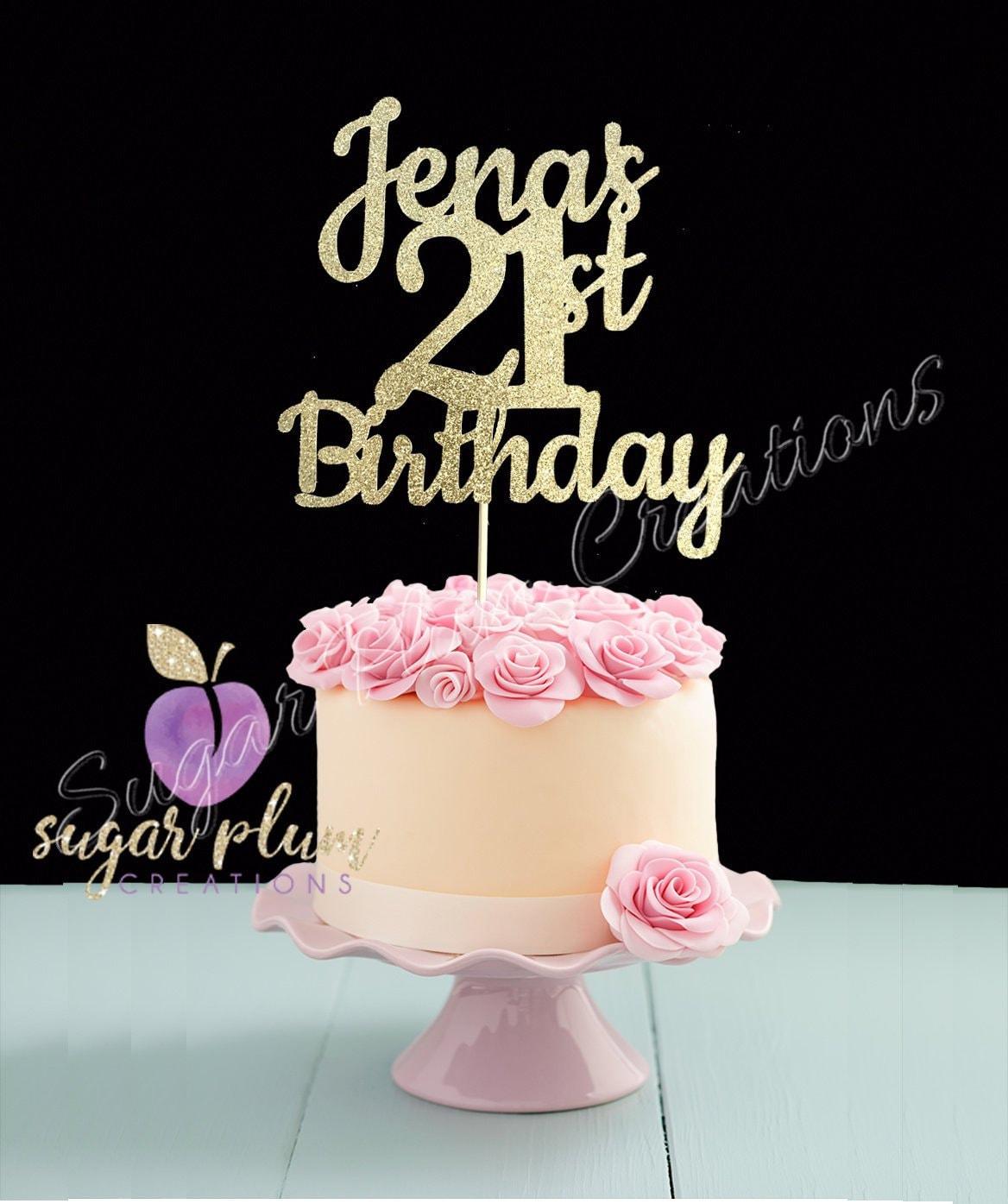 ANY NAME & NUMBER Gold Glitter 21st Birthday Cake Topper