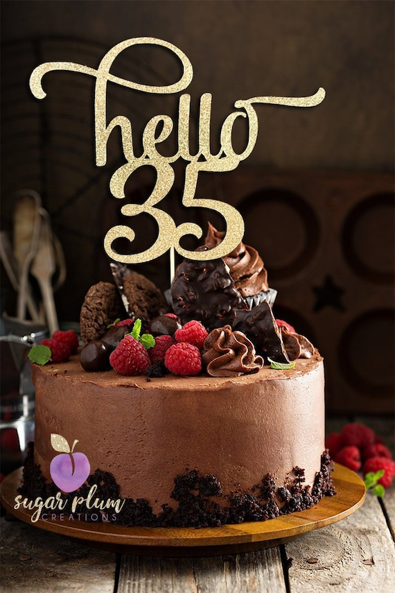 Any Number Gold Glitter Hello 35 Cake Topper 35th Birthday Etsy