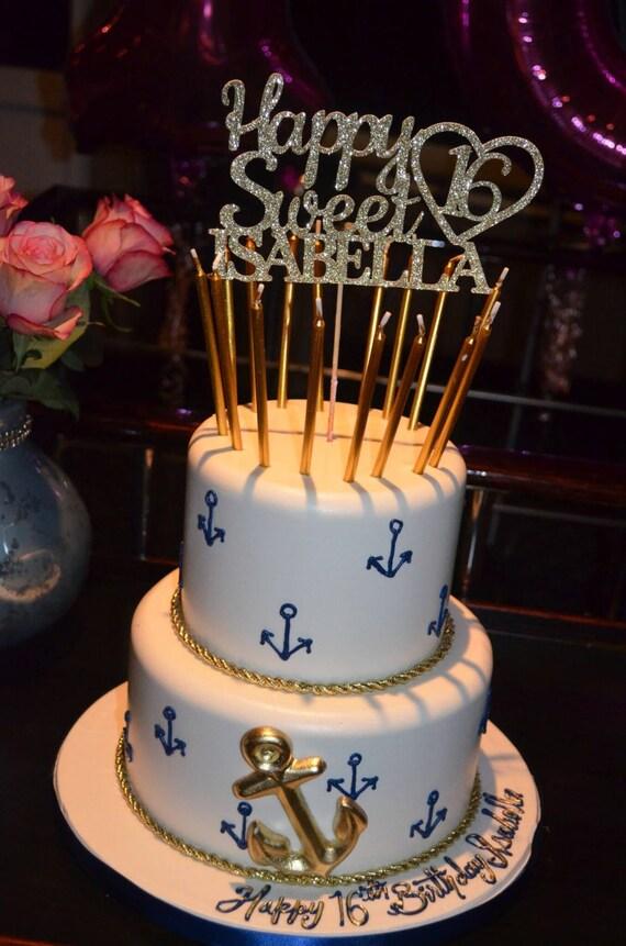 Any Name Glitter Happy Sweet 16 Birthday Cake Topper Sweet Etsy