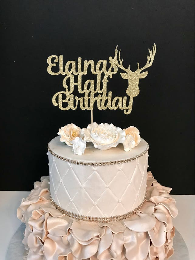 Personalized Half Cake Topper 1 2 Birthday 6 Month Any Color