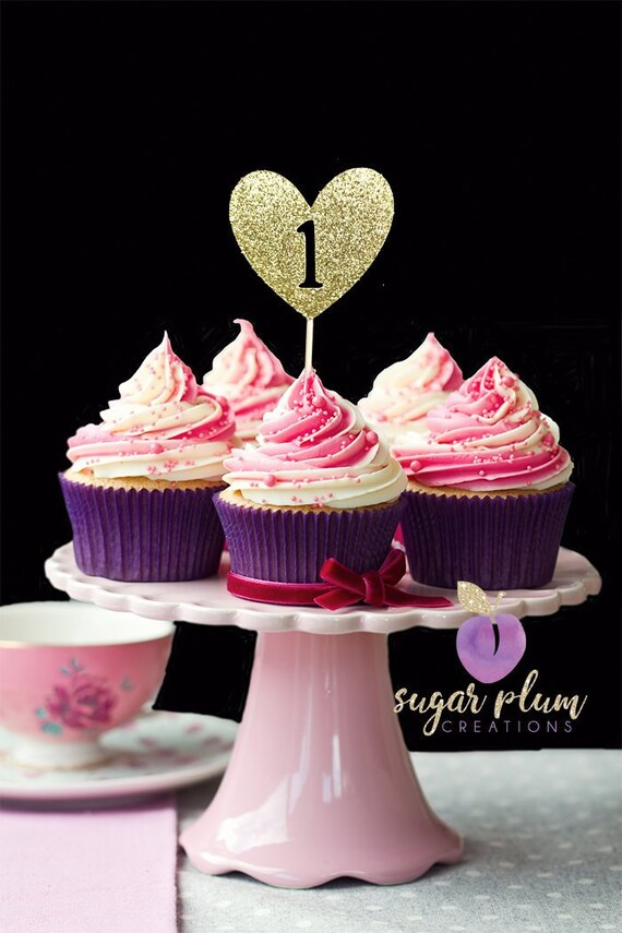 Set of 12, Heart One cupcake toppers, First Birthday Cupcake Toppers, Heart Cupcake Toppers