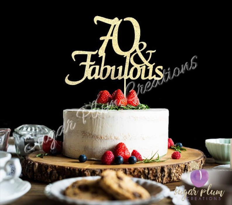 ANY NUMBER Gold Glitter 70th Birthday Cake Topper 70 And