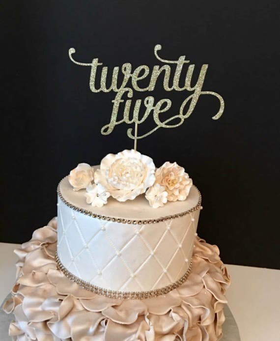 Any Number Gold Glitter Forty Cake Topper 25th Birthday Cake Etsy