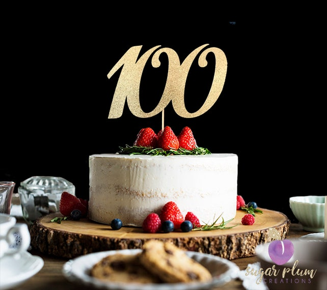ANY NUMBER Gold Glitter 100th Birthday Cake Topper Number 100