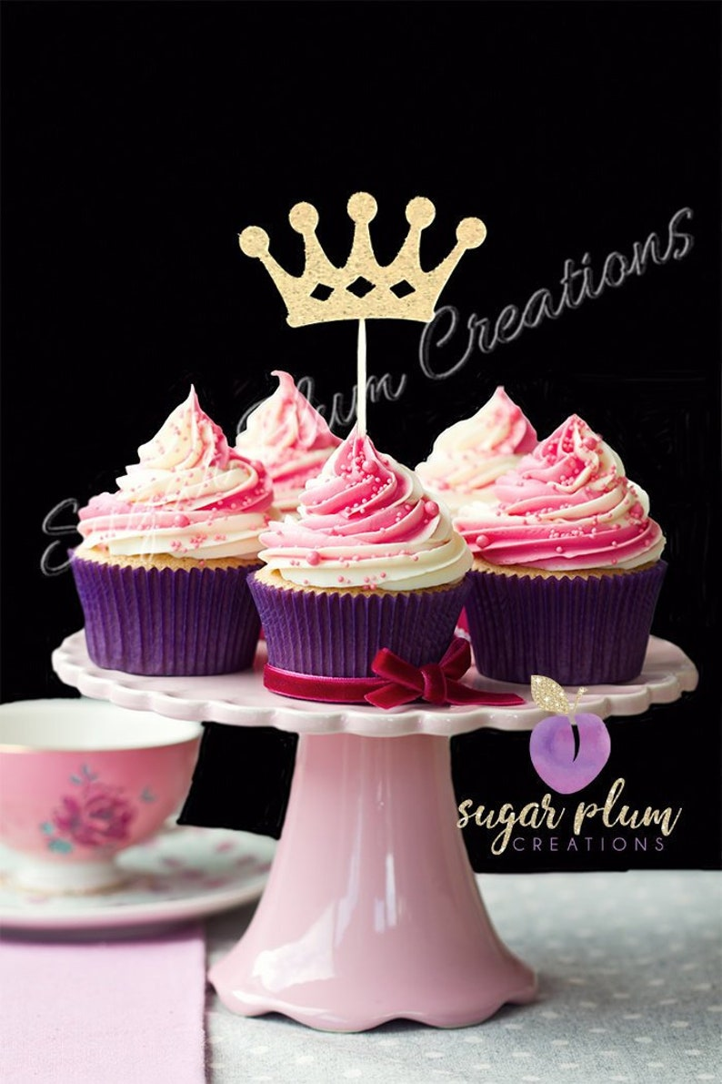 Set Of 12 Princess Birthday Cupcake Topper Gold Cup