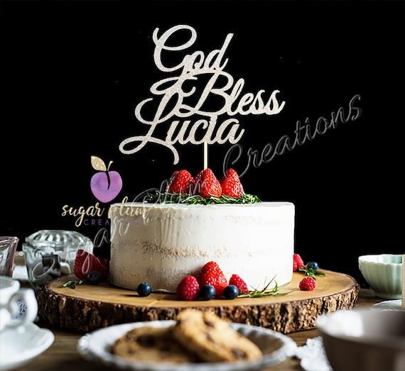 Personalisierte Gott Segne Cake Topper Taufe Cake Topper Taufe Cake Topper Jeder Beliebige Name Gold Glitter Taufe Kuchen Deckel