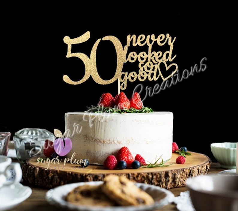 ANY NUMBER Gold Glitter 50th Birthday Cake Topper 50 Never