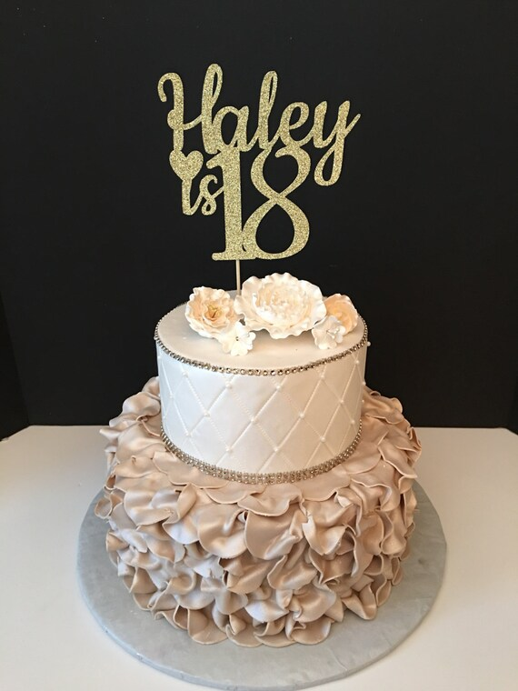 Any Name Number Glitter 18th Birthday Cake Topper Etsy