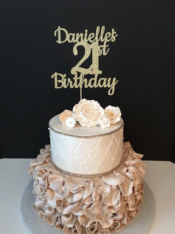 Any Name Number Gold Glitter 21st Birthday Cake Topper 21 Etsy