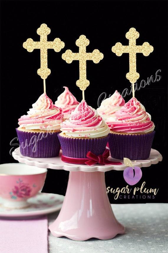 Satz Von 12 Taufe Cupcake Topper Taufe Cupcake Topper Kreuz Cupcake Topper
