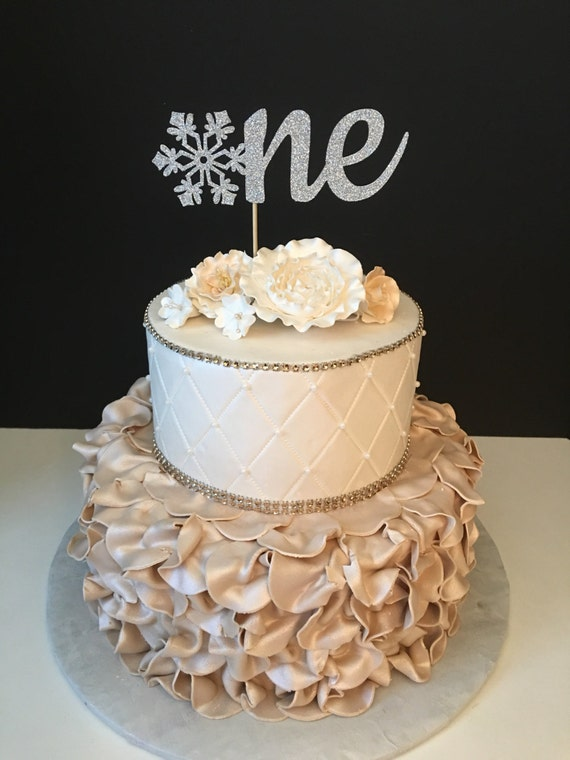 One Winter Wonderland Glitter Birthday Cake Topper Winter Etsy