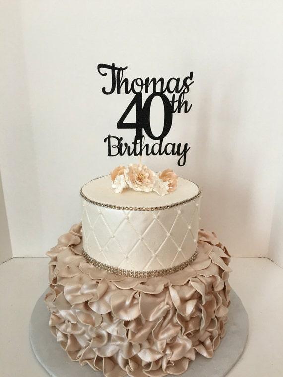 Any Name Number Black Glitter 40th Birthday Cake Topper 40 Etsy