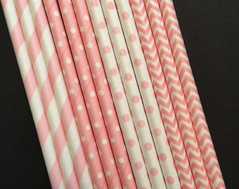Assorted Colors Paper Straws, Pink and White Straws, Party Straws, Pick your color!