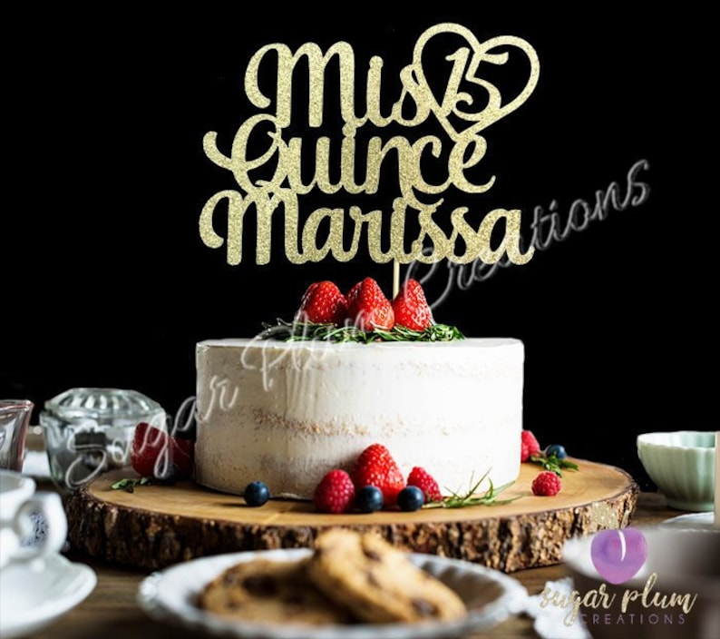 Any Name Glitter Mis Quince Birthday Cake Topper Sweet 15 15th Quinceneara