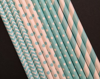 Assorted Colors Paper Straws, Blue and White Straws, Party Straws, Pick your color!