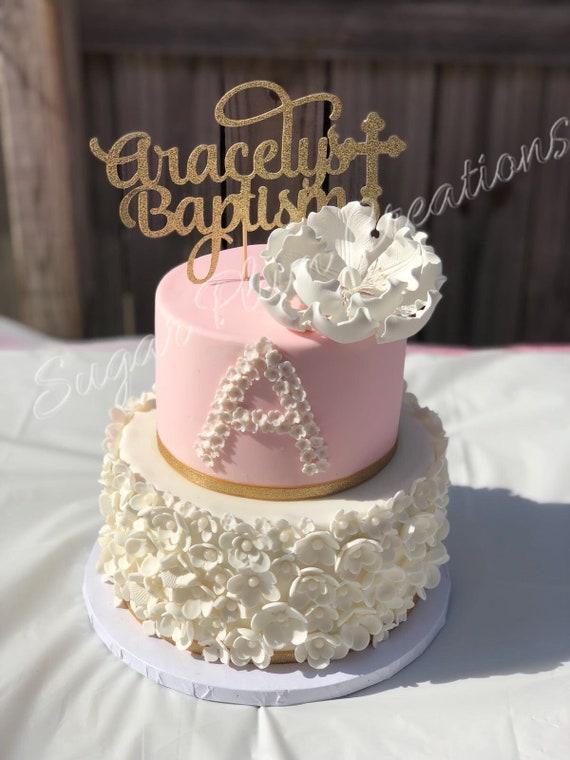 Personalized Baptism Cake Topper Baptism Cake Topper Christening Cake Topper Any Name
