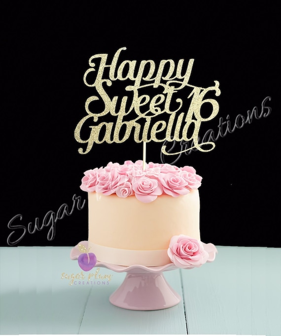 Happy 16th Birthday Gift Ideas Spaceform Sweet Sixteen: Any Name Glitter Happy Sweet 16 Birthday Cake Topper Sweet