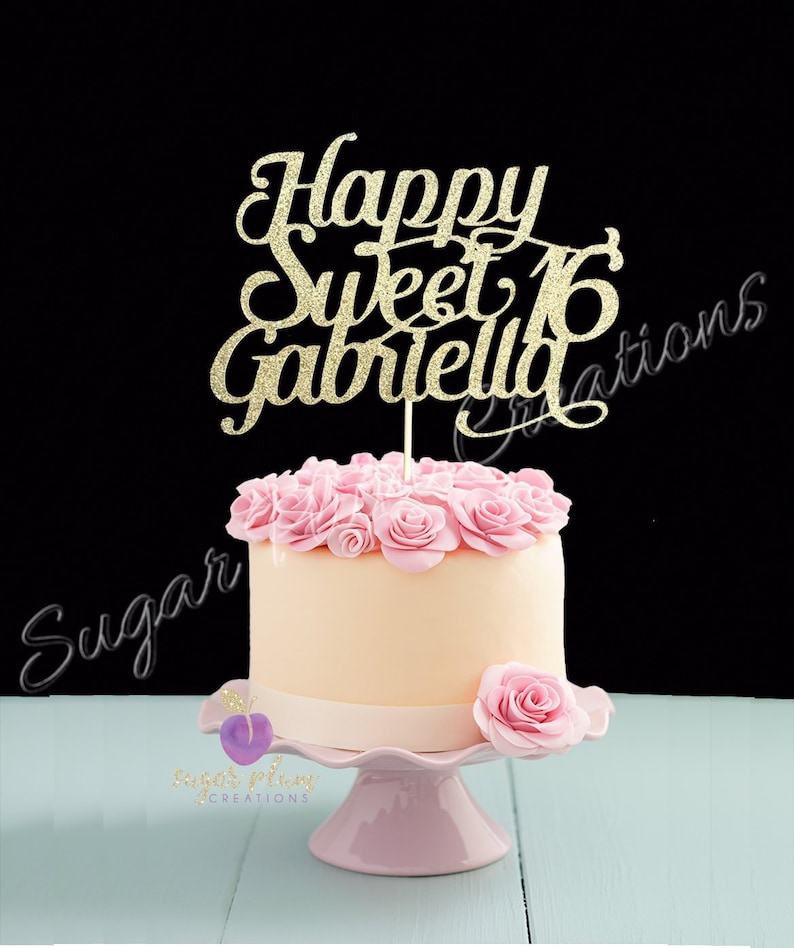 Any Name Glitter Happy Sweet 16 Birthday Cake Topper