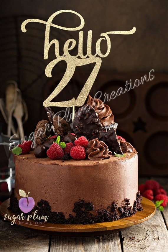 Amazing Any Number Gold Glitter Hello 27 Cake Topper 27Th Birthday Etsy Personalised Birthday Cards Paralily Jamesorg