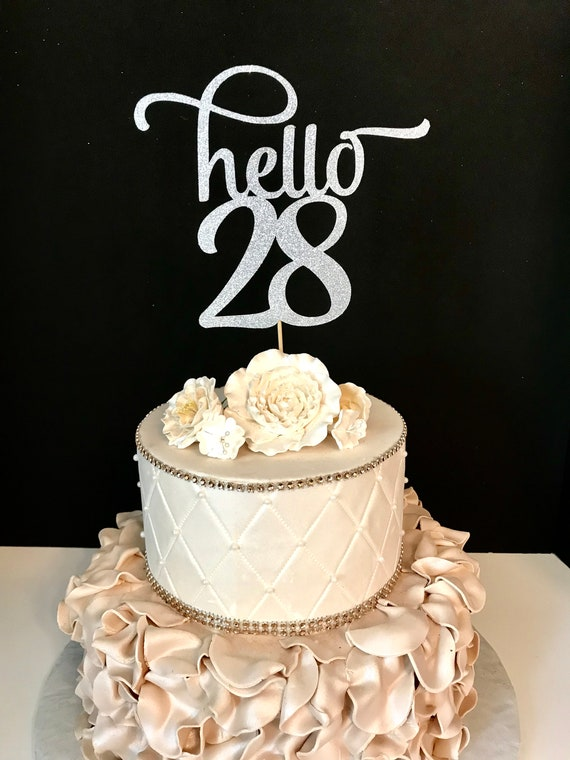 Any Number Gold Glitter Hello 28 Cake Topper 28th Birthday Etsy