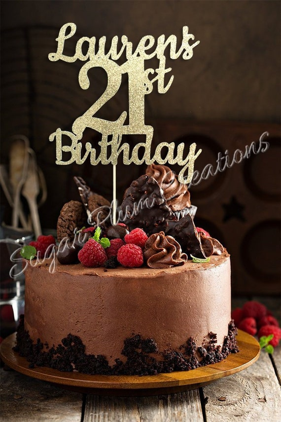 ANY NAME NUMBER Gold Glitter 21st Birthday Cake Topper 21