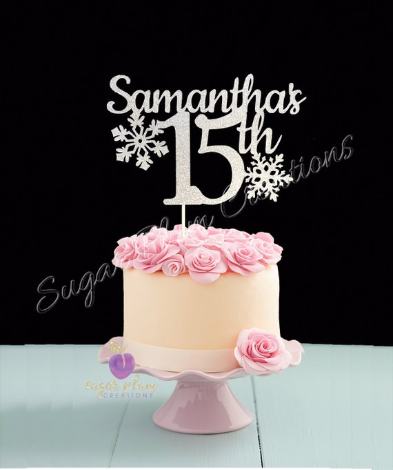 Remarkable Any Name Number Glitter 15Th Birthday Cake Topper Winter Etsy Funny Birthday Cards Online Elaedamsfinfo