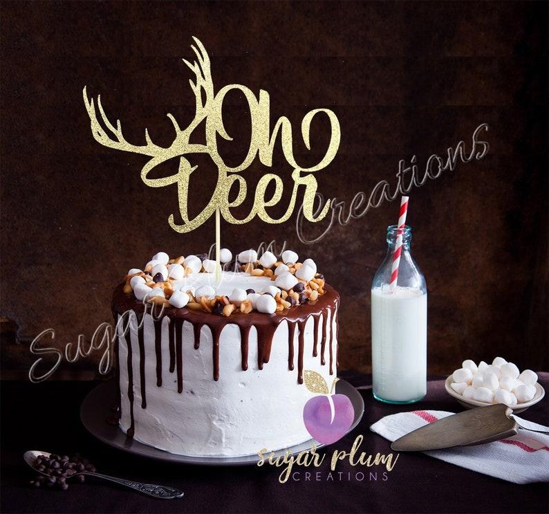 eaf16ca1d21ae Oh Deer Cake Topper, baby shower cake topper, deer cake topper