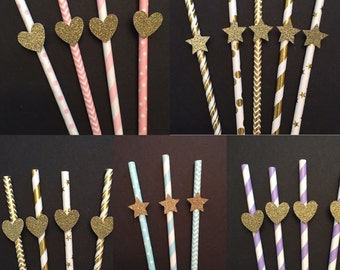 Pick you style, Customize Assorted Colors Paper Straws, Party Straws, Pick your colors!