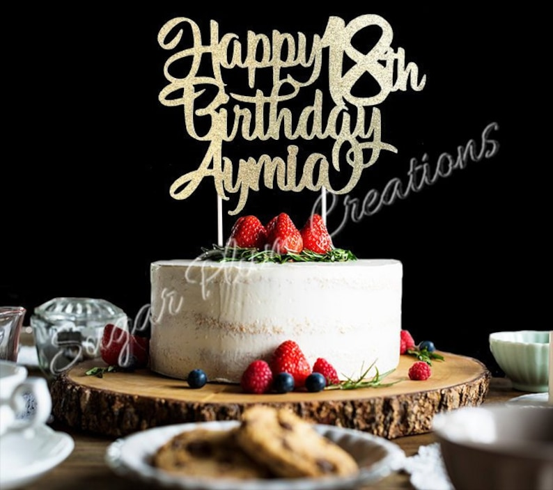 Any Number Glitter Personalized Happy Birthday Cake Topper image 0