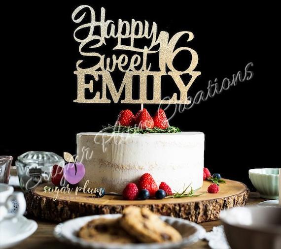 Surprising Any Name Glitter Happy Sweet 16 Birthday Cake Topper Sweet Etsy Funny Birthday Cards Online Necthendildamsfinfo