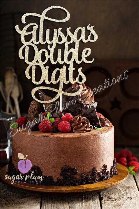 Glitzer Personalisierte Doppelt Ziffern Cake Topper 10 Etsy